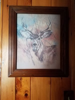 White tail picture with frame for Sale in Rhinelander, WI