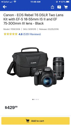 canon - eos rebel t6 DSLR two lenses kit. 18-55mm and 75-300mm for Sale in San Francisco, CA