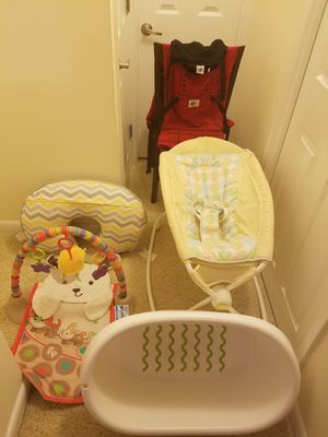 Ergobaby Carrier(in box), Breastfeeding Pillow, Baby Bath, Play Mat, Fisher Price Easy Fold Sleeper for Sale in Arlington, VA
