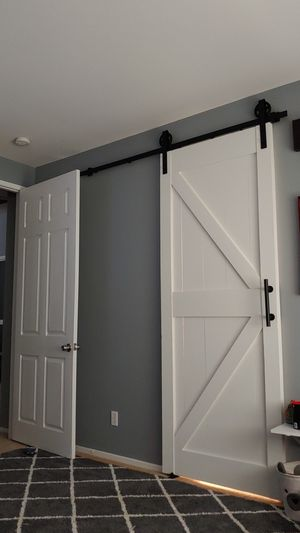 Barn doors with rails for Sale in Victorville, CA
