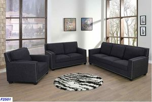 New Livingroom set 3pc Charcoal Linen for Sale in Puyallup, WA