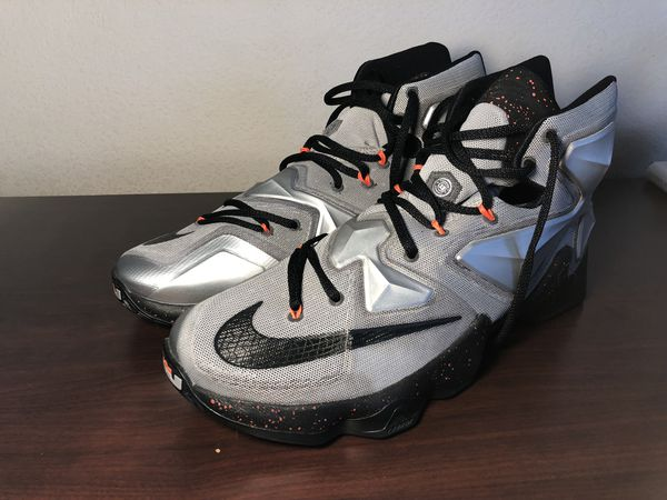 Nike Lebron XIII 13 Rubber City Mens Basketball Shoes Metallic Silver (Lava) Size 11