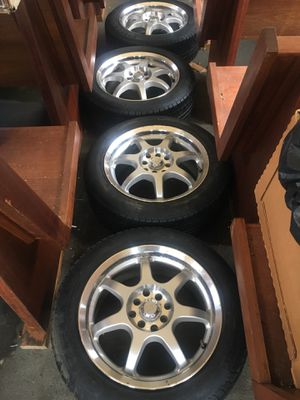 16 inch universal 4 lug mb wheel rims new pirelli p6 tires for Sale in Menomonie, WI