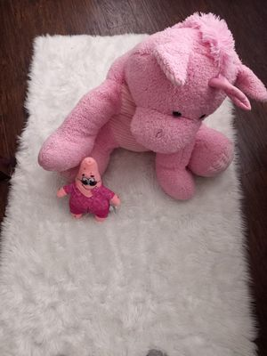 LARGE Whimsical Friends Pink Unicorn Large 36 inches Plush Stuffed Animal and Patrick from SpongeBob From Smoke and pet free home. for Sale in Bradenton, FL