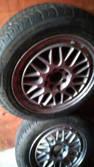 15 inch jdm rims lightweight racing new all season tires universal fit little scratches no cracks good togo for Sale in Tacoma, WA