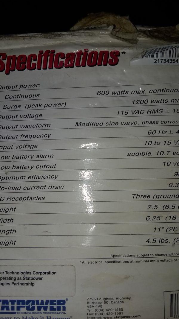 PortAWattz 600w inverter