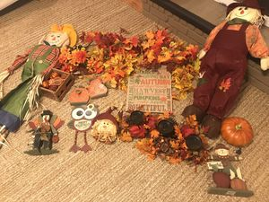 Fall Decor! Ton more stuff not shown here! MORE scarecrows, hay barrel, flowers, etc for Sale in Marietta, GA