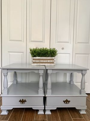 Newly refinished rustic distressed gray farmhouse style pair of wood end tables / nightstands for Sale in Boca Raton, FL