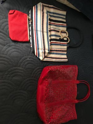 ***2 BAGS FOR SALE- LIKE NEW CONDITION**** STRIPED BAG IS CLOTH/CANVAS RED BAG IS HEAVY GOOD QUALIT for Sale in San Francisco, CA