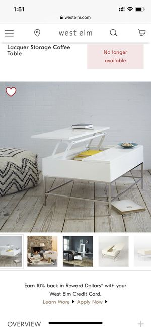 West elm lacquer storage pop up coffee table - $300 (Culver City) for Sale in Los Angeles, CA
