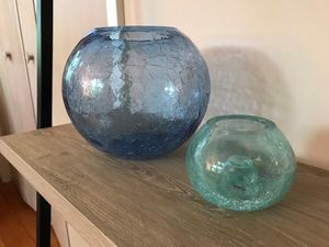 Cracked Glass Vases ( set of 2 ) for Sale in Raleigh, NC