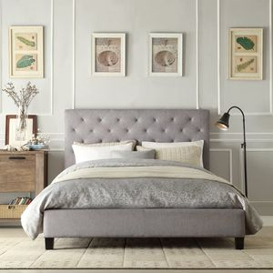 Home Creek Sasha Linen tufted platform bed for Sale in Newton, MA