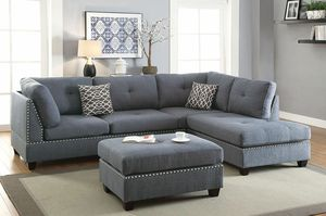 Real Showroom 😁 We Finance - Blue Grey Reversible Chaise Couch Sofa Sectional With Ottoman for Sale in Hawthorne, CA