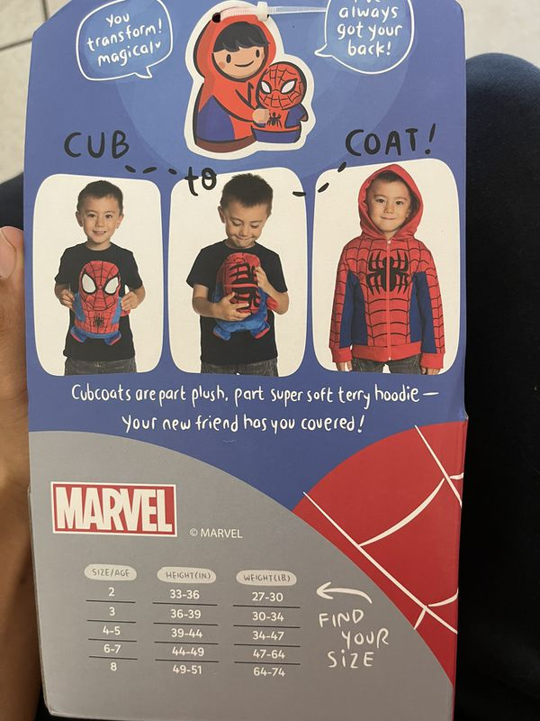 Cubcoats Spider-Man - 2-in-1 Size 8 Transforming Hoodie and Soft Plushie