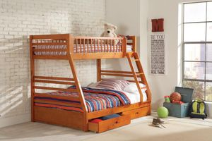 Twin over Full 2-drawer Bunk Bed Honey (Solid Wood) for Sale in Brooklyn, NY