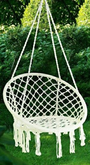 """New in box 32"""" wide x 47"""" inches tall Hammock Chair Macrame Swing Boho Style Cotton Rope Chair Indoor Outdoor 260 lbs Capacity for Sale in Whittier, CA"""