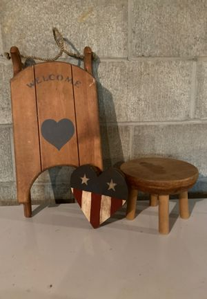 Wooden welcome sleigh with small wooden stool & wooden heart flag for Sale in Aliquippa, PA