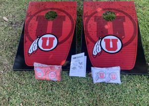 Brandnew Cornhole Bean Bag Toss Game Set Kit Full Size Utah Utes Tailgate Outdoor Indoo for Sale in Arcadia, CA