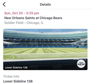 BEARS VS SAINTS SIDELINE TICKETS 10/20 (4) for Sale in Chicago, IL