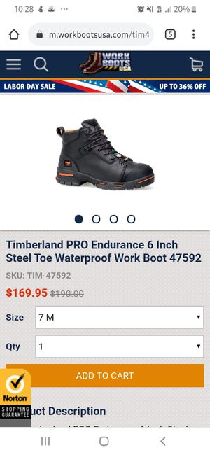 Timberland PRO Endurance 6 in Steel Toe Waterproof Work Boot for Sale in Clarksville, TN