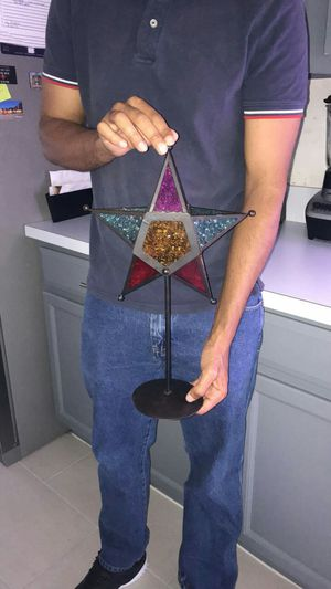 Metal and glass candle holder size 17 inches high for Sale in Orlando, FL