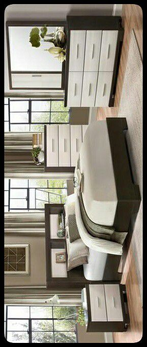 ✔SET✔ Pell White/Espresso Panel Bookcase Bedroom Set for Sale in Mount Rainier, MD