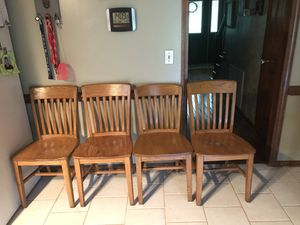 Solid oak school chairs and solid oak table for Sale in Cottontown, TN