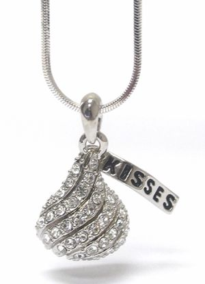 e8031c48a43 Hershey kiss white gold plated pendant necklace for Sale in Stafford