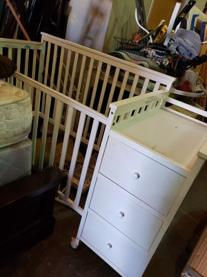 White Crib With Attached Dresser and Changing Table for Sale in Tacoma, WA