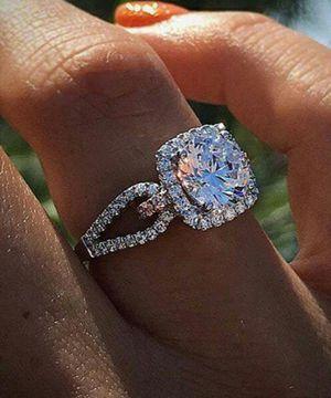 White Gold Filled Natural Gemstone White Sapphire Princess Ring for Sale in Wichita, KS