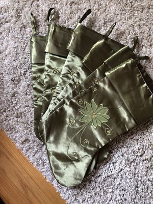 Set of 6 sage green satin Christmas stockings for Sale in Elmwood Park, IL