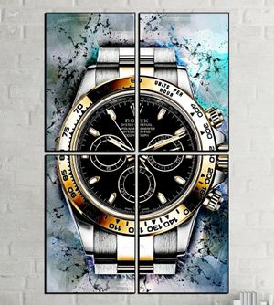 4 piece modern Rolex watch art HD picture poster print with glass frames. for Sale in Lauderhill, FL