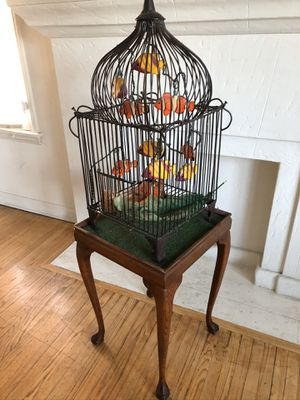 Antique Birdcage - fish in a cage art piece/lamp for Sale in Los Angeles, CA