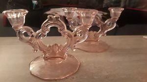 Vintage Pink Depression Candelabra Set for Sale in Warren, MI