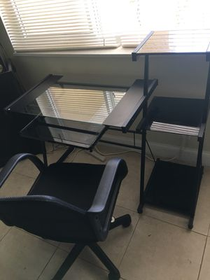 Glass computer desk with chair for Sale in Fort Lauderdale, FL