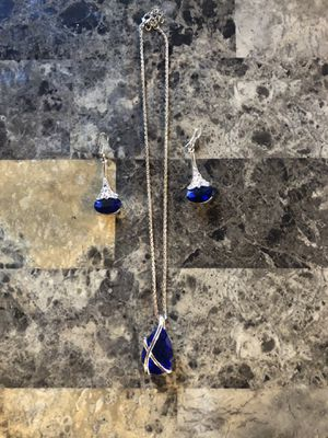Gold necklace and earring set. Blue stone for Sale in Avon Park, FL