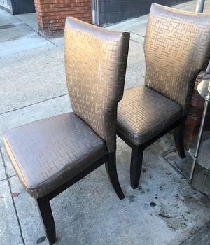 """#100436 Pair of Dark Silver Chairs 19.25"""" Wide x 19"""" Deep x 39"""" Tall; 18"""" Floor to Seat for Sale in Oakland, CA"""