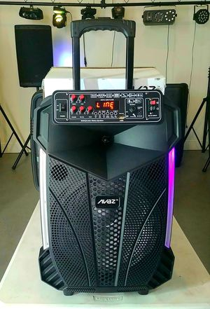"""Party Speaker, Rechargeable. 12"""" woofer. 1000 watts. Bluetooth. LED lights. USB and Aux connection. Wired microphone included. New. for Sale in Miami, FL"""