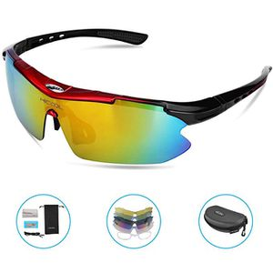 HiCool Cycling Glasses, Polarized Sports Sunglasses with 5 Interchangeable Lenses UV Protection Unbreakable Driving Running Hiking Golf Baseball Fish for Sale in Brooklyn, NY