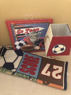 Sport theme lamp, carpet and wall decorations for Sale in Wixom, MI