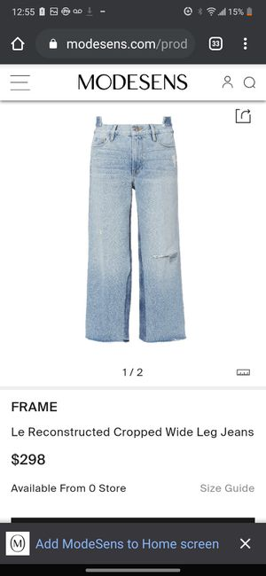 FRAME Le Reconstructed Cropped Wide Leg Jeans Size 29 RETAIL $290 for Sale in Bell Gardens, CA