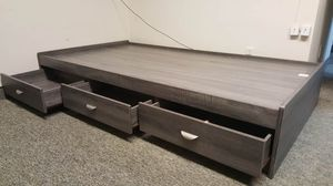 Full Size 3-Drawer Storage Bed Frame, Distressed Grey for Sale in Santa Ana, CA