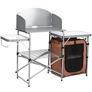 A18-9 44 in. H White Rectangle Aluminum Picnic Outdoor Foldable BBQ Portable Grilling Table with Windscreen Bag for Sale in Walnut, CA