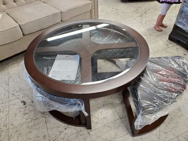 New Glass Coffee Table with Stools