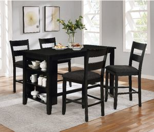 Black counter height dining table set with kitchen shelves for Sale in Los Angeles, CA