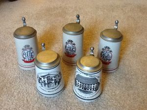 "Original""Zen"" and Gerzit"" German beer glasses , set of 6 , all different, Collectibles for Sale in Westborough, MA"