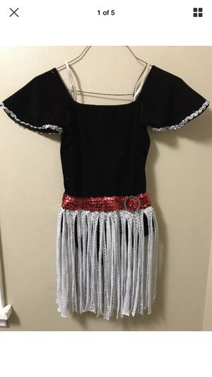 Star Styled Black Red Silver Sequin Dance Costume Leotard tap jazz chorus girl M for Sale in Portland, OR