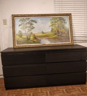 """Black long dresser/TV stand with big drawers in great condition all drawers working well, driveway pickup. L63""""*W19""""*H30.5"""" for Sale in West Springfield, VA"""