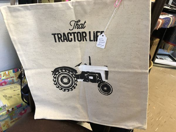 """Chalk Embellished pillow cover""""That tractor life"""""""