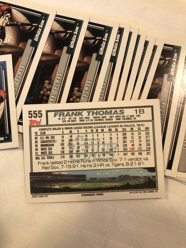 Topps 1992 Baseball Frank Thomas card #555 set of 36 cards mint